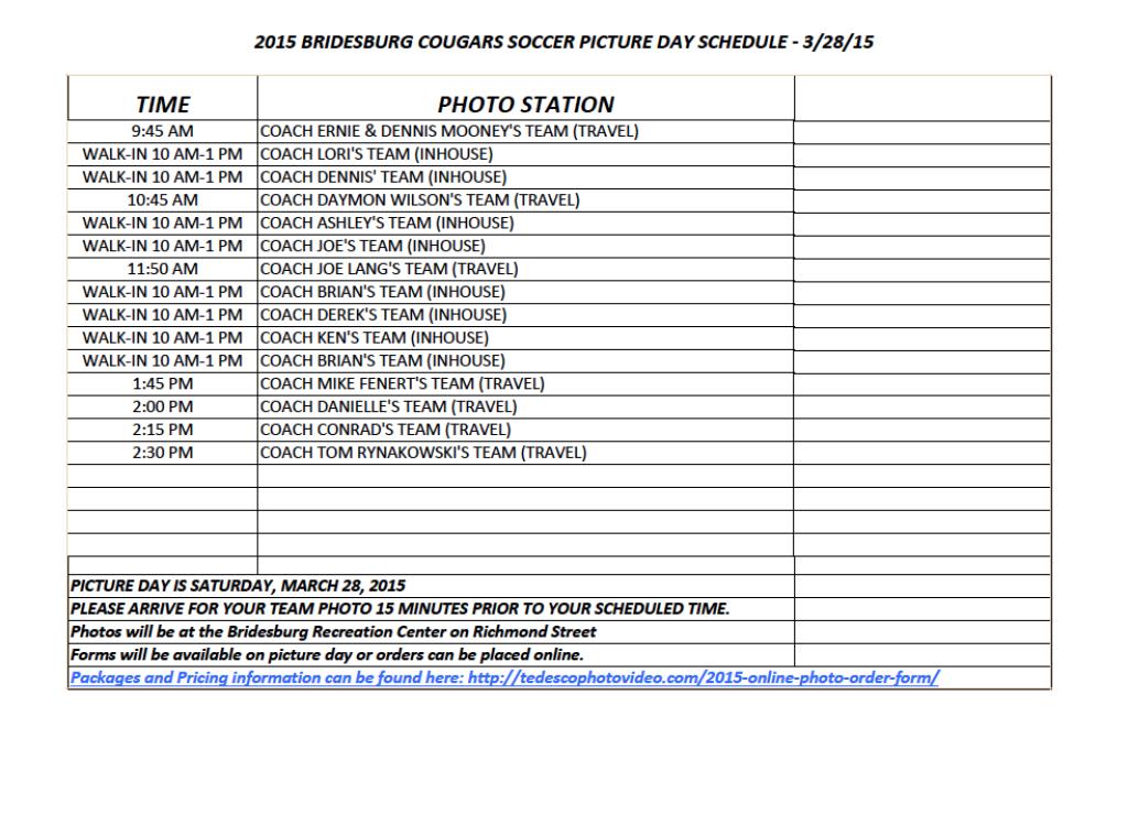 2015 Indoor Soccer Photo Schedule