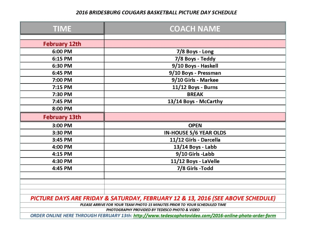2016 Basketball Photo Schedule