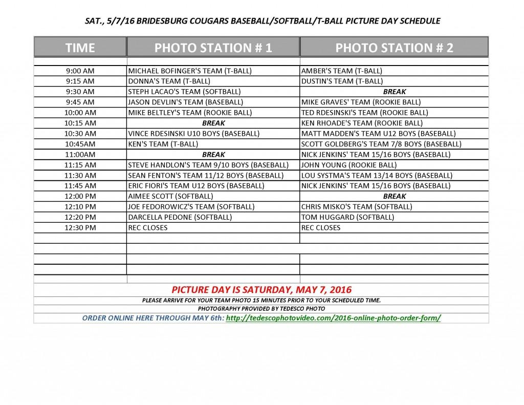 2016 Baseball Softball TBall Photo Schedule3 Sheet1